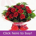 Dozen red roses prepared by Sillogue florist