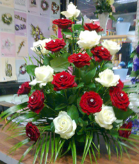 Red & White roses by Dublin 11 florist - Flowers by Rita
