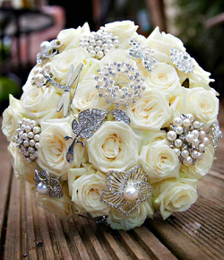 Brides bouquet of white roses and pearls